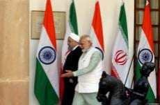 El primer ministro indio Narendra Modi reunido con el presidente iraní Hassan Rouhani en Nueva Delhi, India, 17 de febrero de 2018 [Presidencia iraní / Folleto / Agencia Anadolu]