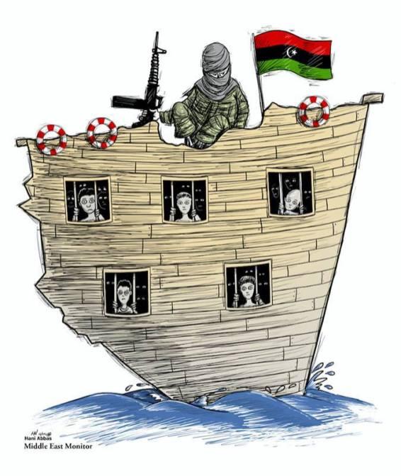 Hasta el 77% de los migrantes enfrentan abuso, explotación y tráfico - Crisis de refugiados, Libia - Cartoon [Hani Abbas / MiddleEastMonitor]