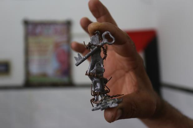 El escultor palestino Majdi Abu Taqiyya.
