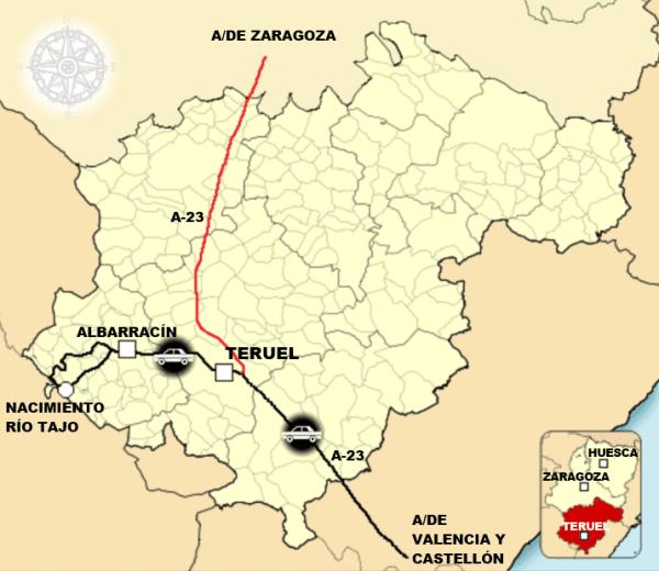 Mapa de la comarca de Albarracín.