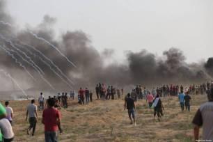 Manifestantes palestinos en unas nuevas jornadas de la Gran Marcha del Retorno, en Gaza, el 31 de agosto de 2018 [Mohammad Asad / Middle East Monitor]