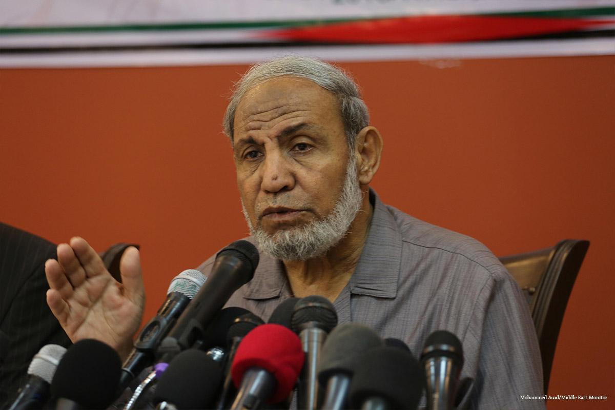 Mahmoud Al-Zahar, uno de los miembros de la cúpula de Hamas, durante una ponencia en Gaza