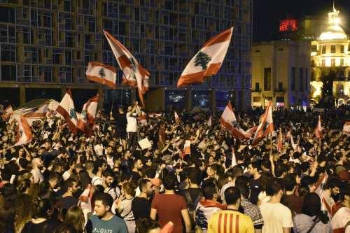 Protestas frente a la embajada de Estados Unidos en Beirut