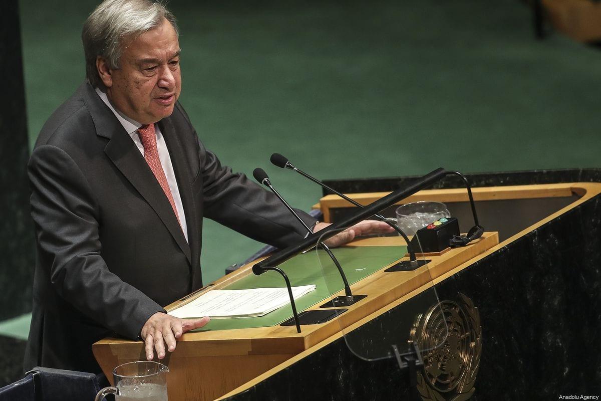 El Secretario General de las Naciones Unidas, Antonio Guterres, habla en la 74ª sesión de la Asamblea General de la ONU en la sede de la ONU en Nueva York, Estados Unidos, el 24 de septiembre de 2019 [Erçin Top / Agencia Anadolu]