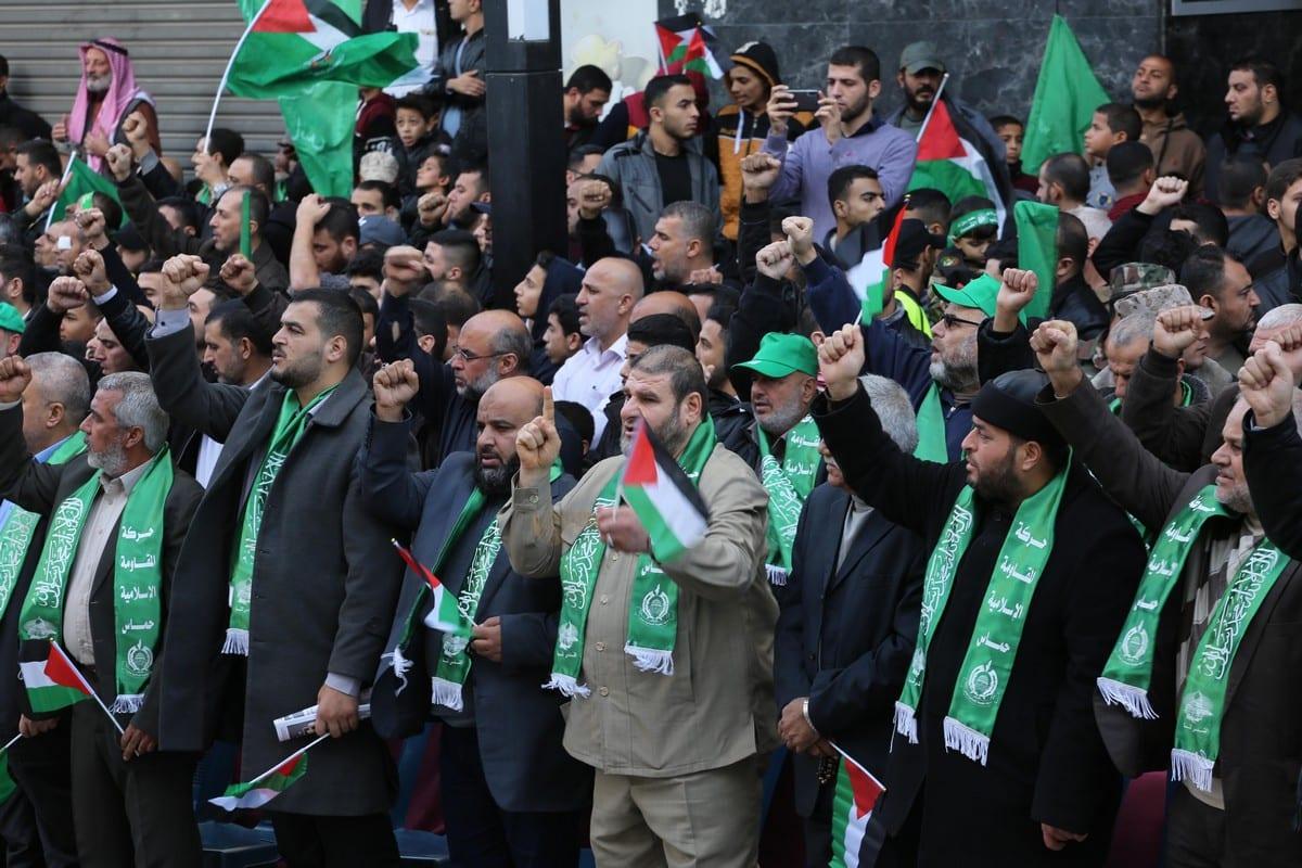 Los palestinos se unen para celebrar el 32 aniversario de Hams en Gaza el 16 de diciembre de 2019 [Mohammed Asad / Middle East Monitor]