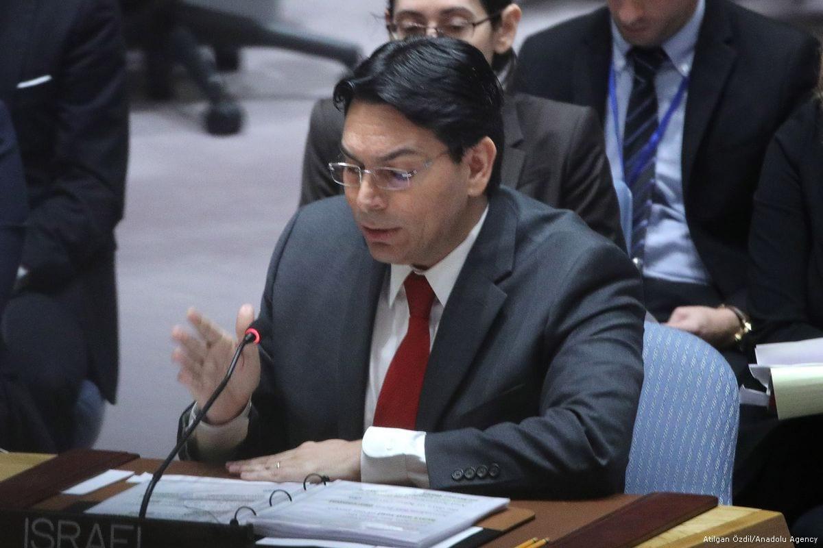 El embajador de Israel en la ONU, Danny Danon, en la sede de la ONU en Nueva York, EE. UU., El 20 de febrero de 2018 [Agencia Atılgan Özdil / Anadolu]