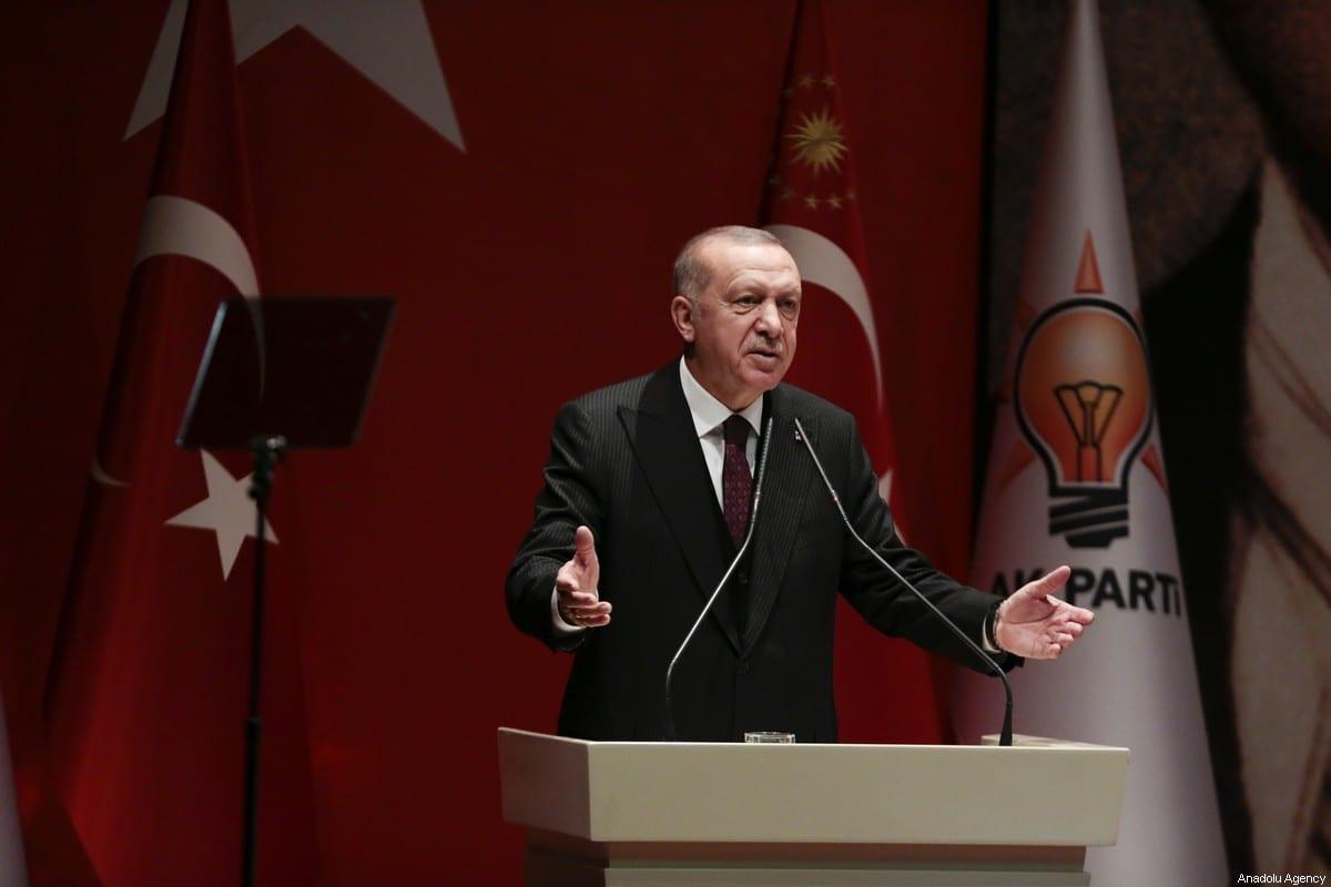 El presidente turco y líder del partido gobernante de Turquía Justicia y Desarrollo (AK), Recep Tayyip Erdogan, en Ankara, Turquía, el 31 de enero de 2020 [Agencia Metin Aktaş / Anadolu]