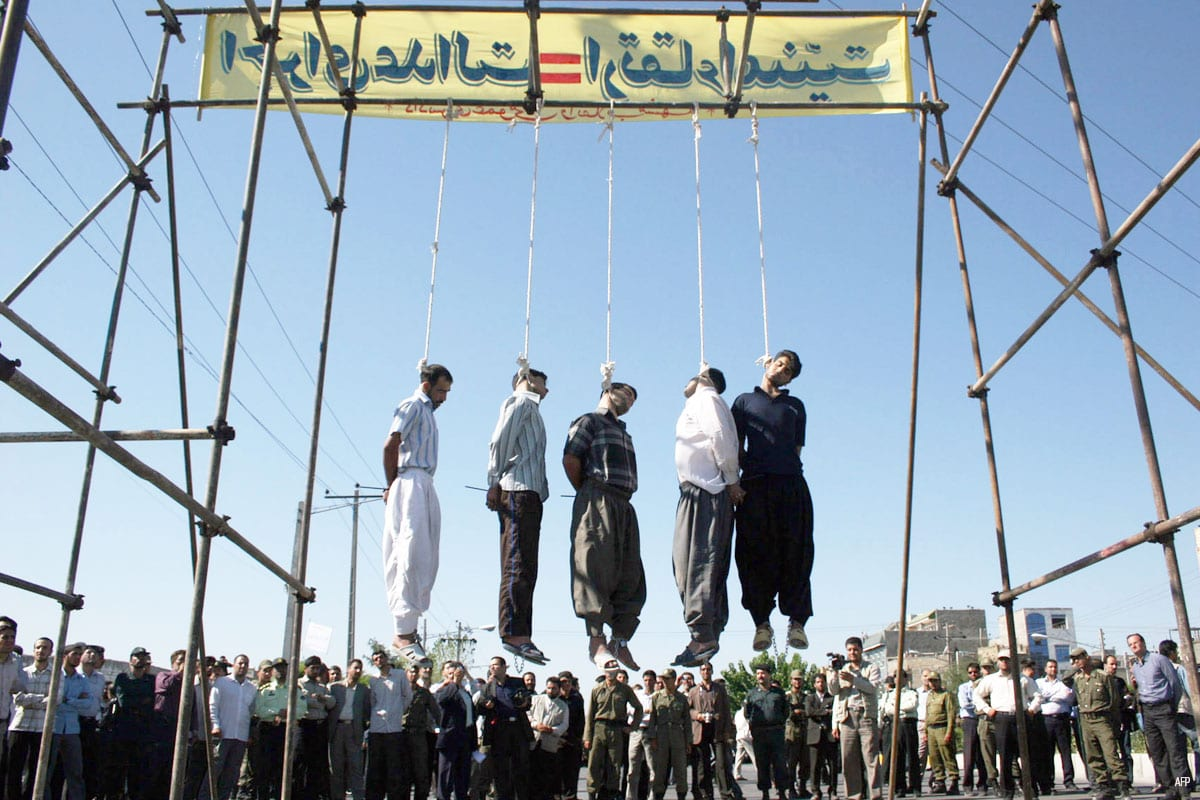 An image of an execution taking place in Iran