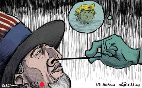 US election 2020 and #COVID19 MEMO #Cartoon by @Mohammad Sabaaneh