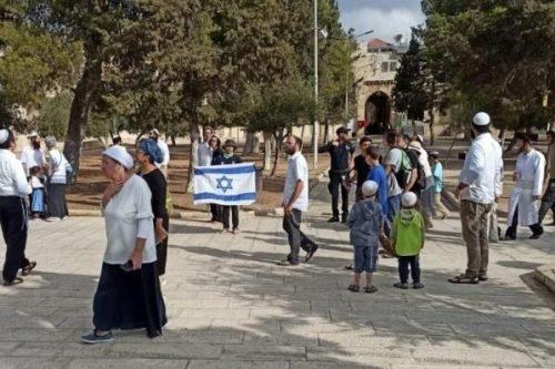 Colonos judíos irrumpen en el santuario de Al-Aqsa ondeando banderas…