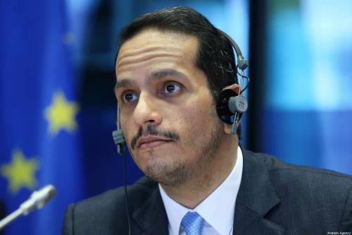 Ministro das Relações Exteriores do Catar Mohammed bin Abdulrahman bin Jassim Al-Thani discursa na Comissão de Relações Exteriores do Parlamento Europeu em Bruxelas, Bélgica, em 19 de fevereiro de 2020. [Dursun Aydemir - Agência Anadolu]