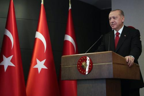 Presidente da Turquia Recep Tayyip Erdogan, em Istambul, Turquia, 16 de maio de 2020 [Mustafa Kamaci/Agência Anadolu]