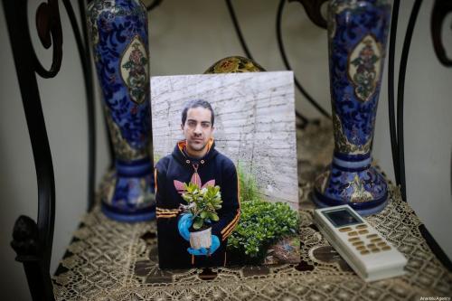 Fotografia do palestino Eyad Hallaq, de 32 anos, que foi morto pela polícia israelense a despeito ser autista, no chamado Portão do Leão da Cidade Velha de Jerusalém, em 30 de maio de 2020 [Mostafa Alkharouf/Agência Anadolu]