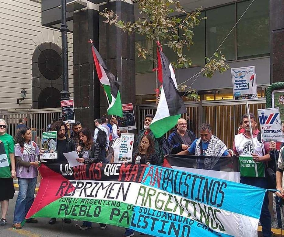 Manifestações da Palestina contra acordos comeciais com Israel. Em abril de 2019. [BDS Argentina]