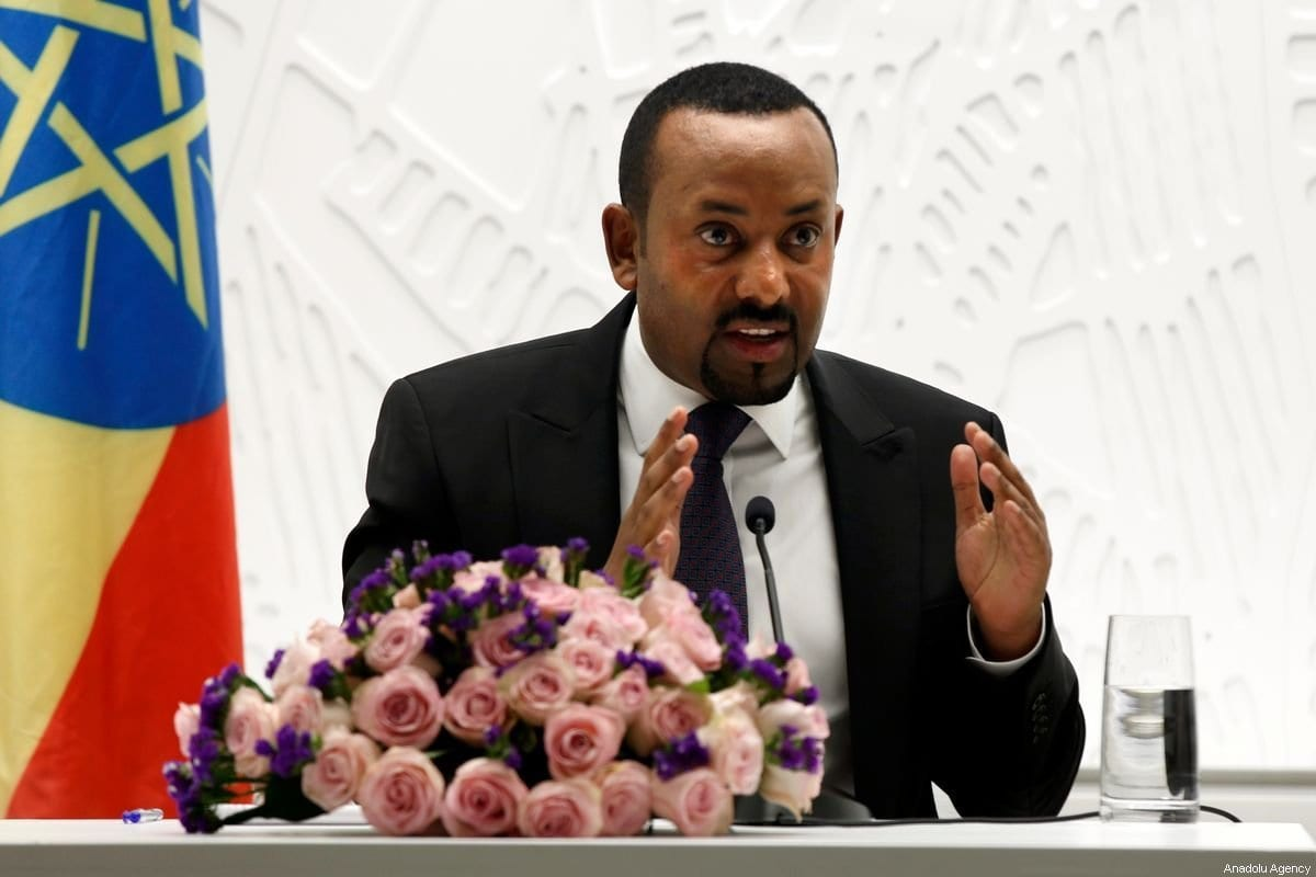 Primeiro Ministro da Etiópia, Abiy Ahmed, durante uma coletiva de imprensa em Addis Abeba, Etiópia, em 1 de agosto de 2019 [Minasse Wondimu Hailu/ Agência Anadolu]