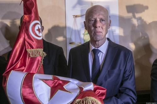 Candidato independente da Tunísia, Kais Saied, em Tunis. Foto de 13 de outubro de 2019 [Yassine Gaidi / Agência Anadolu]
