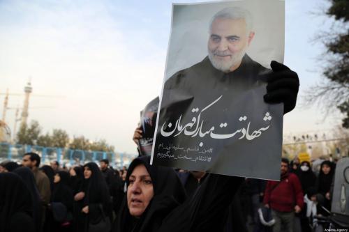 Protesto contra o assassinato de Comandante da Força Quds da Guarda Revolucionária Iraniana, Qasem Soleimani, por um ataque aéreo dos EUA na capital iraquiana Bagdá, em 3 de janeiro de 2020 [Fatemeh Bahrami / Agência Anadolu]