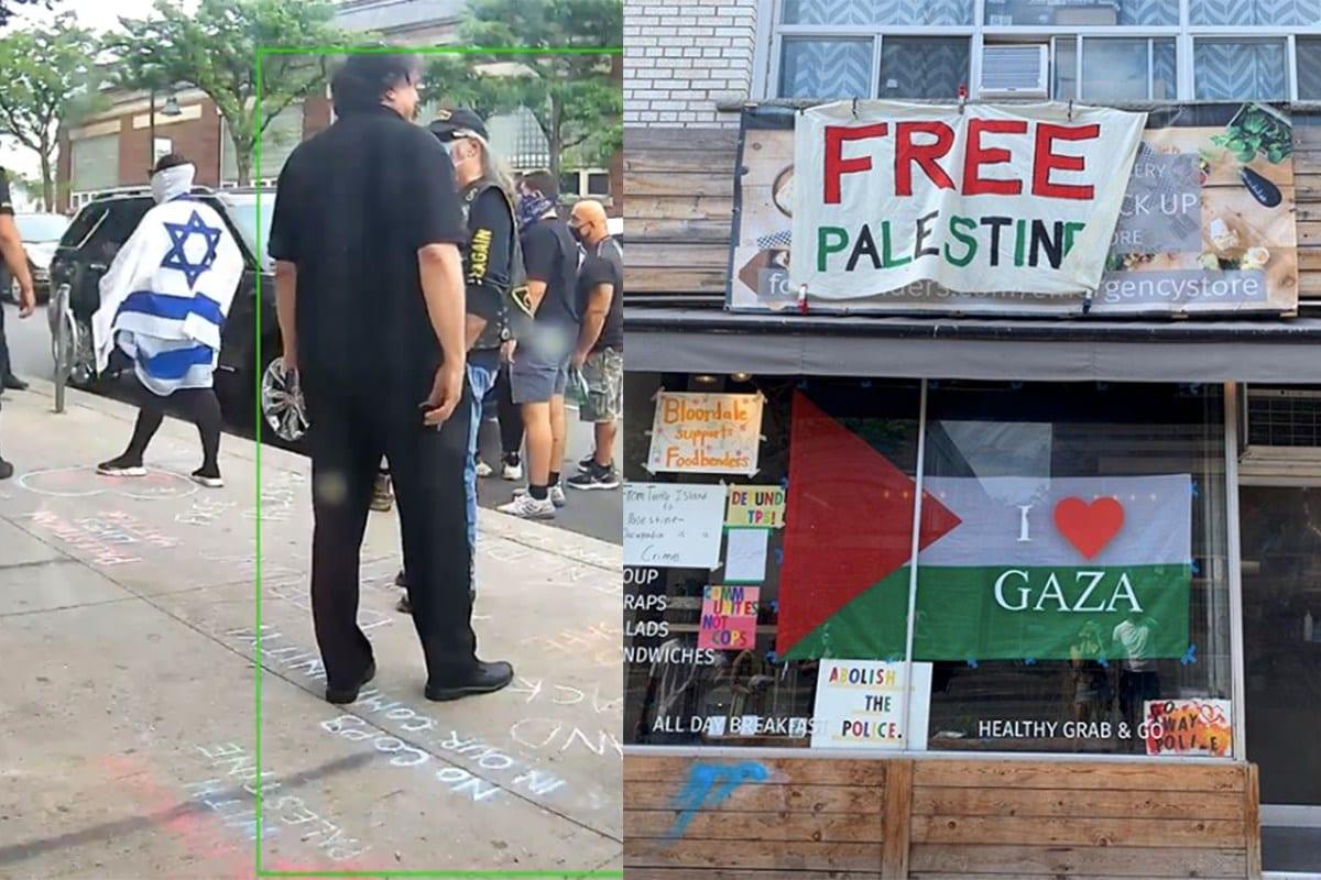Ataque contra ativistas pró-Palestina, realizado por grupos sionistas, torna-se violento, após a Liga de Defesa Judaica (JDL), organização terrorista de extrema-direita, tomar as ruas como parte de uma campanha de ódio contra um restaurante em Toronto, Canadá [Rana Nazzal/Twitter]