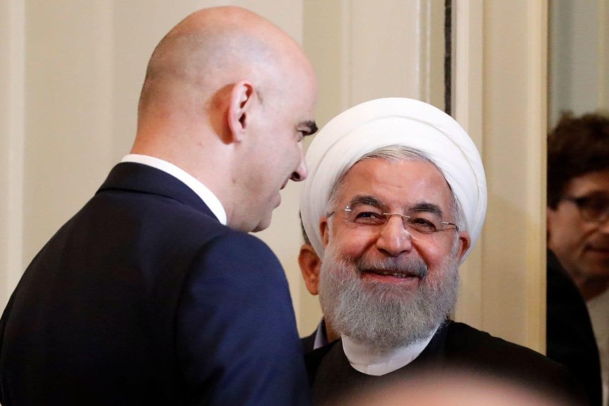 Presidente do Irã Hassan Rouhani e Presidente da Suíça Alain Berset em coletiva de imprensa conjunta, após diversas cerimônias de assinatura, em Berna, Suíça, 3 de julho de 2018 [Ruben Sprich/AFP/Getty Images]