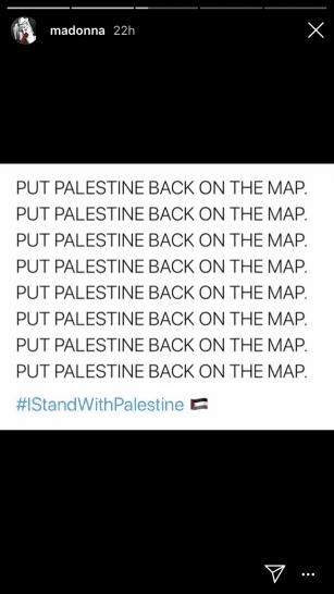 Madonna expressa solidariedade com a Palestina no Instagram, 21 de julho de 2020 [Madonna/ Instagram ]
