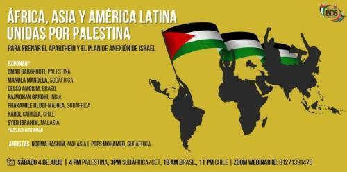 Banner divulga o ato virtual internacional, que acontecerá às 10h no Brasil