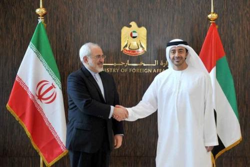 Ministro de Relações Exteriores do Irã Mohammad Javad Zarif (à esquerda) reúne-se com o Ministro de Relações Exteriores dos Emirados Árabes Unidos Abdullah bin Zayed Al Nahyan [foto de arquivo]