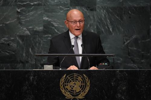Tammam Salam, ex-presidente do Conselho de Ministros da República do Líbano, discursa na 71ª sessão da Assembleia Geral das Nações Unidas na sede da ONU, em Nova Iorque, Estados Unidos, 22 de setembro de 2016 [Timothy A. Clary/AFP/Getty Images]