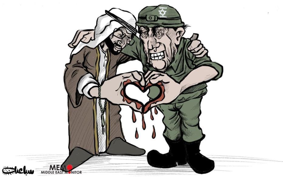 Os Emirados Árabes Unidos normalizam os laços com Israel - Charge [Sabaaneh / Monitor do Oriente Médio]