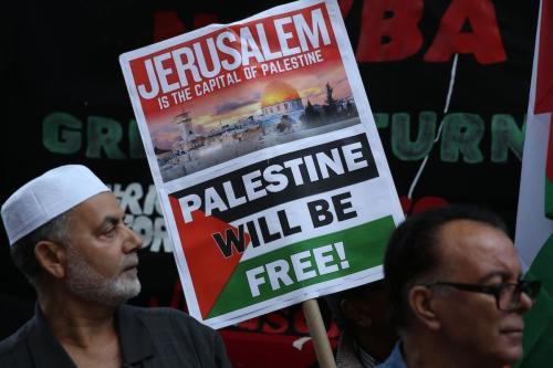 Ativistas protestam contra ataques israelenses aos territórios palestinos ocupados, em Nova Iorque, Estados Unidos, 14 de maio de 2018 [Mohammed Elshamy/Agência Anadolu]