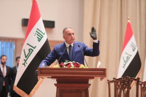 Primeiro-ministro iraquiano Mustafa Al-Kadhimi em Bagdá, Iraque em 6 de maio de 2020 [Parlamento iraquiano / Agência Anadolu]