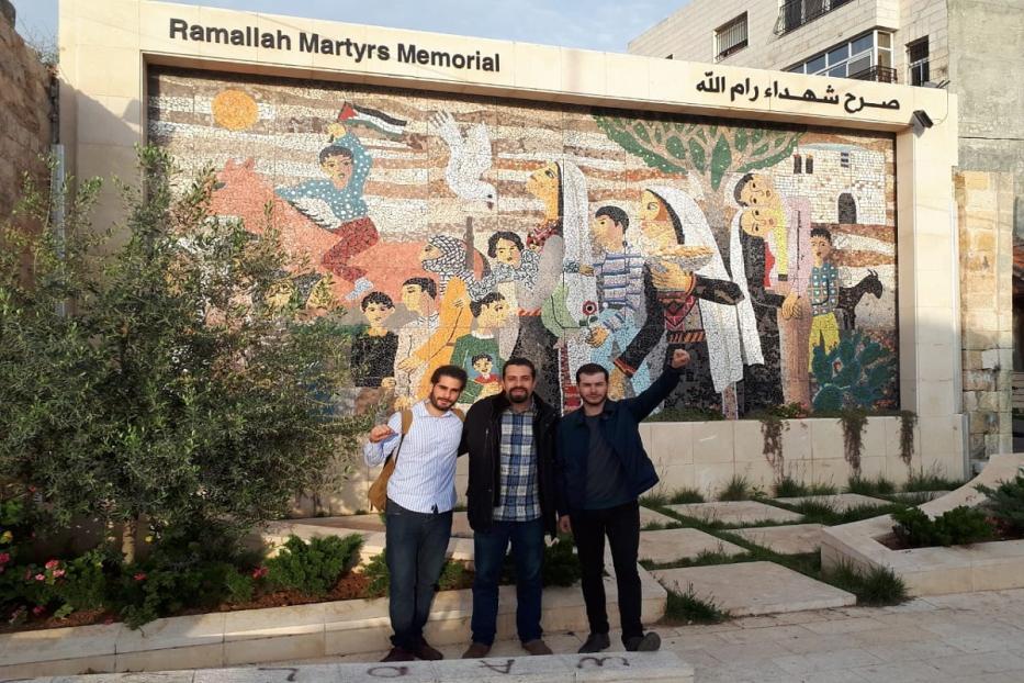 Comitiva do PSOL em Ramallah, Pedro Charbel, Guilherme Boulos e Juliano Medeiros [Foto arquivo pessoal]