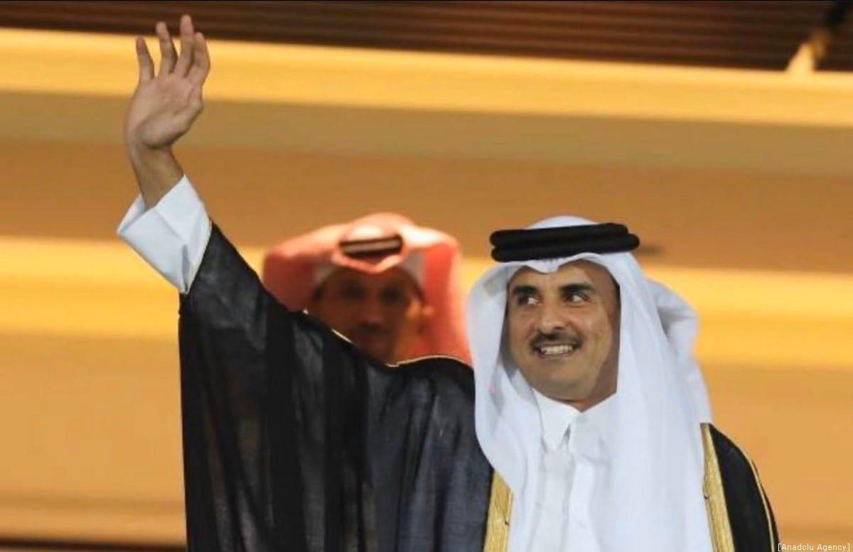 Emir do Catar Tamim Bin Hamad Al-Thani, em Doha, Catar, 8 de dezembro de 2019 [Conselho dos Emirados do Catar/Agência Anadolu]