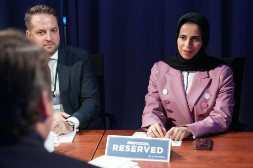 Lolwah Rashid Al-Khater, porta-voz do Ministério das Relações Exteriores do Estado do Catar, em 24 de setembro de 2019 na cidade de Nova York [Leigh Vogel / Getty Images]