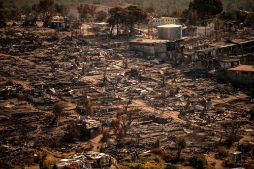 Campo de refugiados de Moria destruído por um grave incêndio, 16 de setembro de 2020 [Angelos Tzortzinis/AFP/Getty Images]