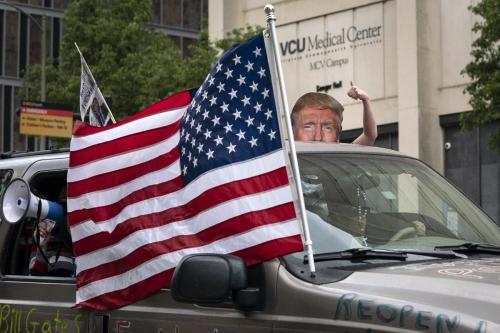 PROTESTO PELO FIM DO ISOLAMENTO SOCIAL NOS EUA. FOTO: AFP