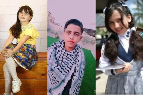Crianças palestinas de Gaza (E-D) Malak Judah, Musa Abu Jazar, Razan Zidan.