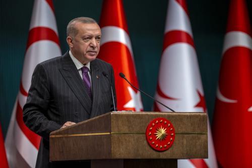 Presidente da Turquia Recep Tayyip Erdogan em Ancara, turquia, 6 de outubro de 2020 [Ali Balikçi/Agência Anadolu]