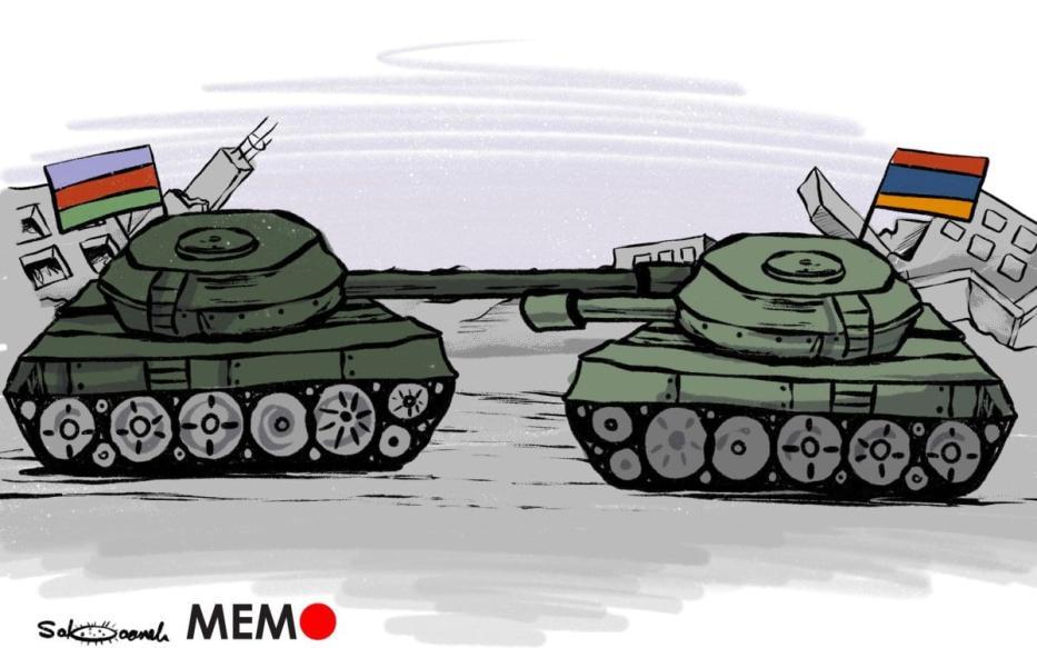 Armênia / Azerbaijão lutando contra a fúria - charge [Sabaaneh / Monitor do Oriente Médio]