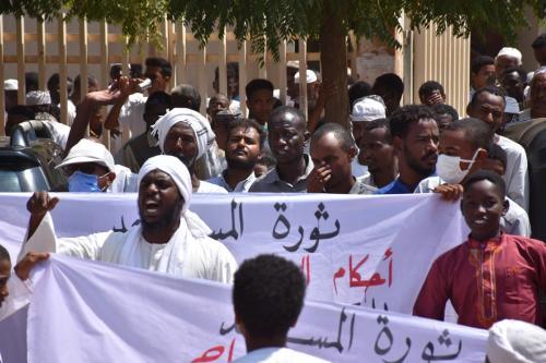 Protesto contra possível acordo de normalização com Israel, em Cartum, capital do Sudão, 25 de setembro de 2020 [Abbas M. Idris/Agência Anadolu]