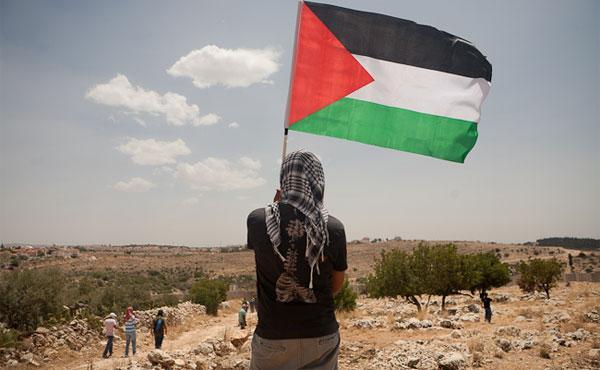 Mulher palestina com a bandeira nacional de seu povo em frente às suas terras [foto de arquivo]