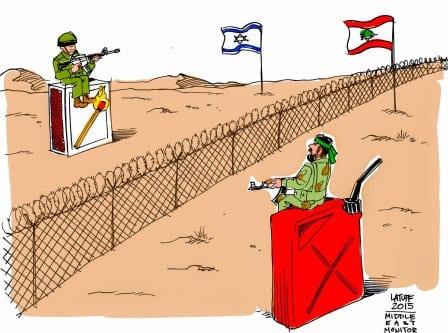 Tensões na fronteira entre Israel e Líbano [Carlos Latuff/Monitor do Oriente Médio]