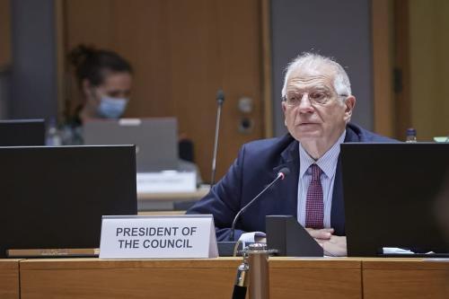 Alto Representante da UE para os Negócios Estrangeiros Assuntos e Política de Segurança, Josep Borrell, lidera a videoconferência dos Ministros das Relações Exteriores da UE em Bruxelas, Bélgica, em 19 de novembro de 2020 [Conselho da UE / Pool / Agência Anadolu]