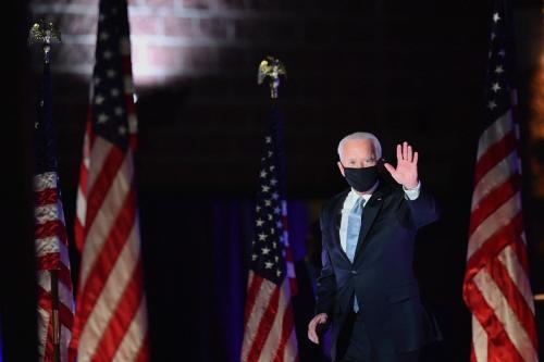 Joe Biden, presidente eleito dos Estados Unidos, em Wilmington, Delaware, 7 de novembro de 2020 [Angela Weiss/AFP/Getty Images]