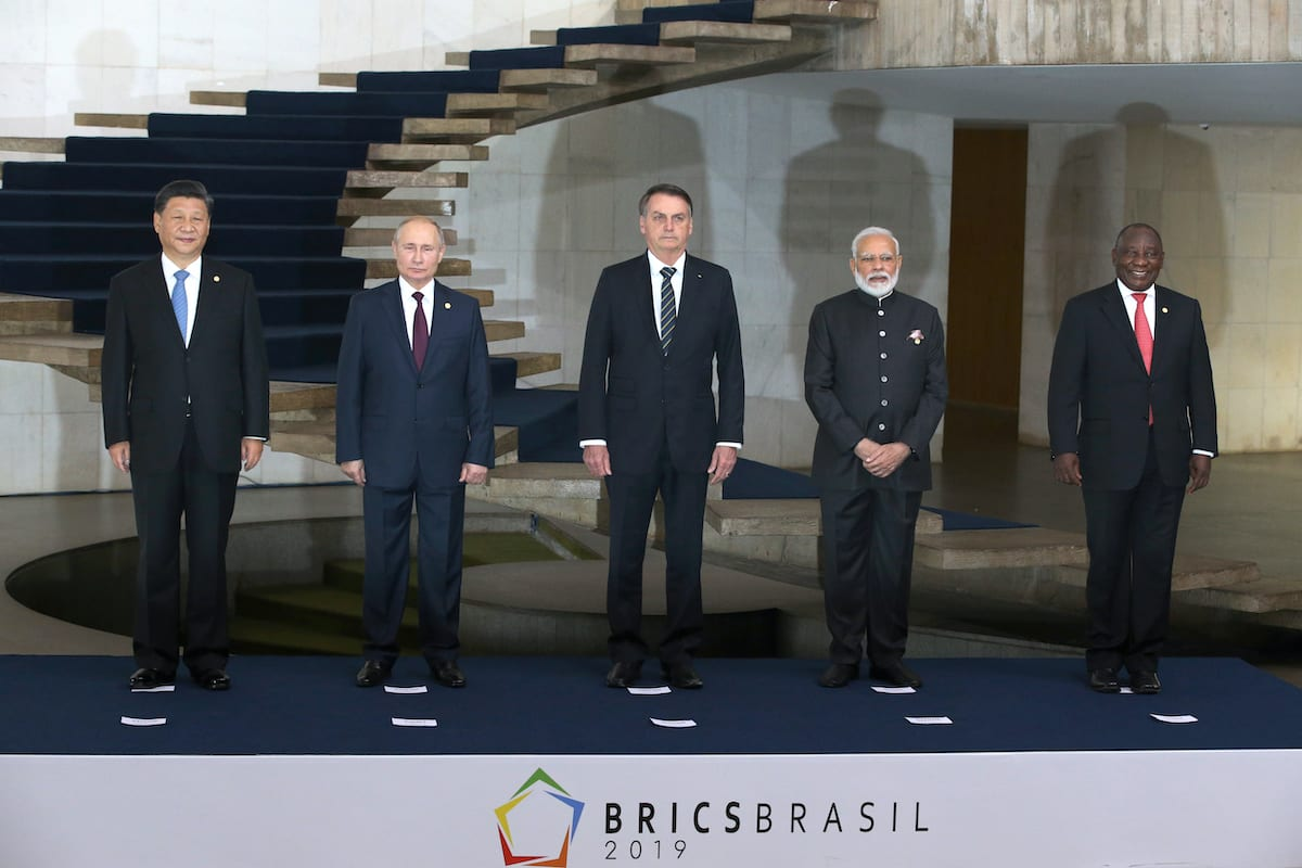 Líderes da Rússia, China, Brasil, Índia e África do Sul reúnem-se para Cúpula dos Líderes do BRICS, em Brasília, Brasil, 13 de novembro de 2019 [Mikhail Svetlov/Getty Images]