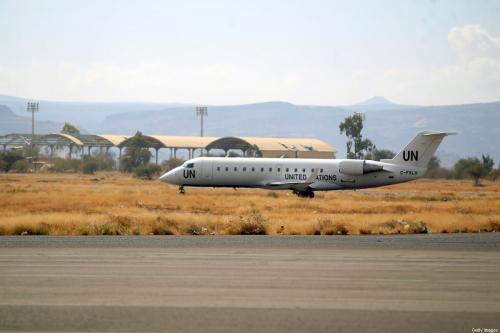 Avião bimotor Bombardier CRJ-200 da ONU, no Aeroporto Internacional de Saana, Iêmen, 3 de fevereiro de 2020 [Mohammed Huwais/AFP/Getty Images]