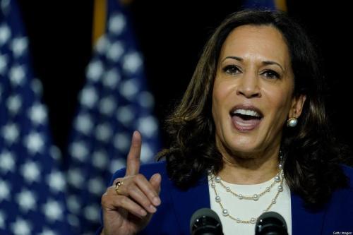 Kamala Harris, candidata a vice-presidente do Partido Democrata em Delaware, EUA em 12 de agosto de 2020 [Drew Angerer / Getty Images]