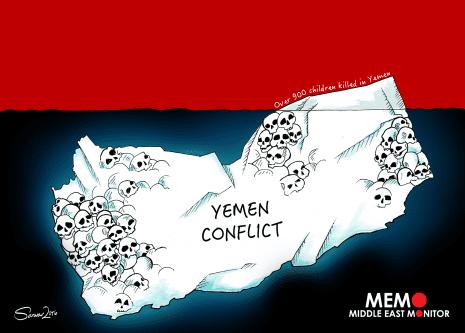 Mortes no conflito do Iêmen. [Sarwar Ahmed/MEMO]