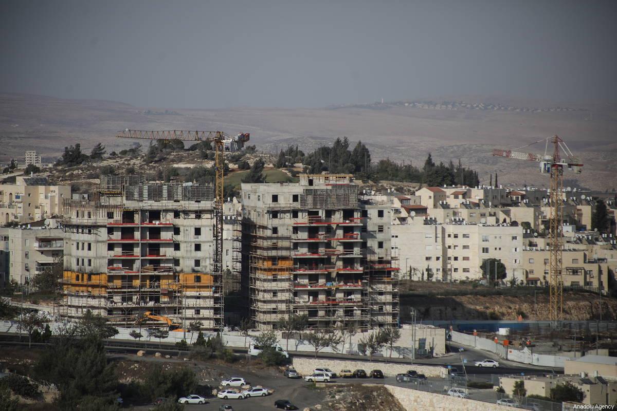 Uma visão das obras em andamento em um assentamento israelense em Jerusalém, em 4 de outubro de 2018 [Mostafa Alkharouf / Agência Anadolu]