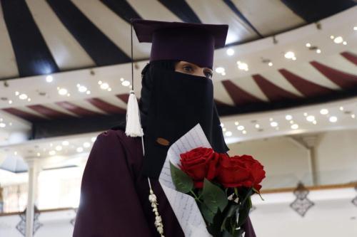 Estudante universitária celebra sua graduação, em Sanaa, Iêmen, 13 de fevereiro de 2020 [Mohammed Hamoud/Getty Images]