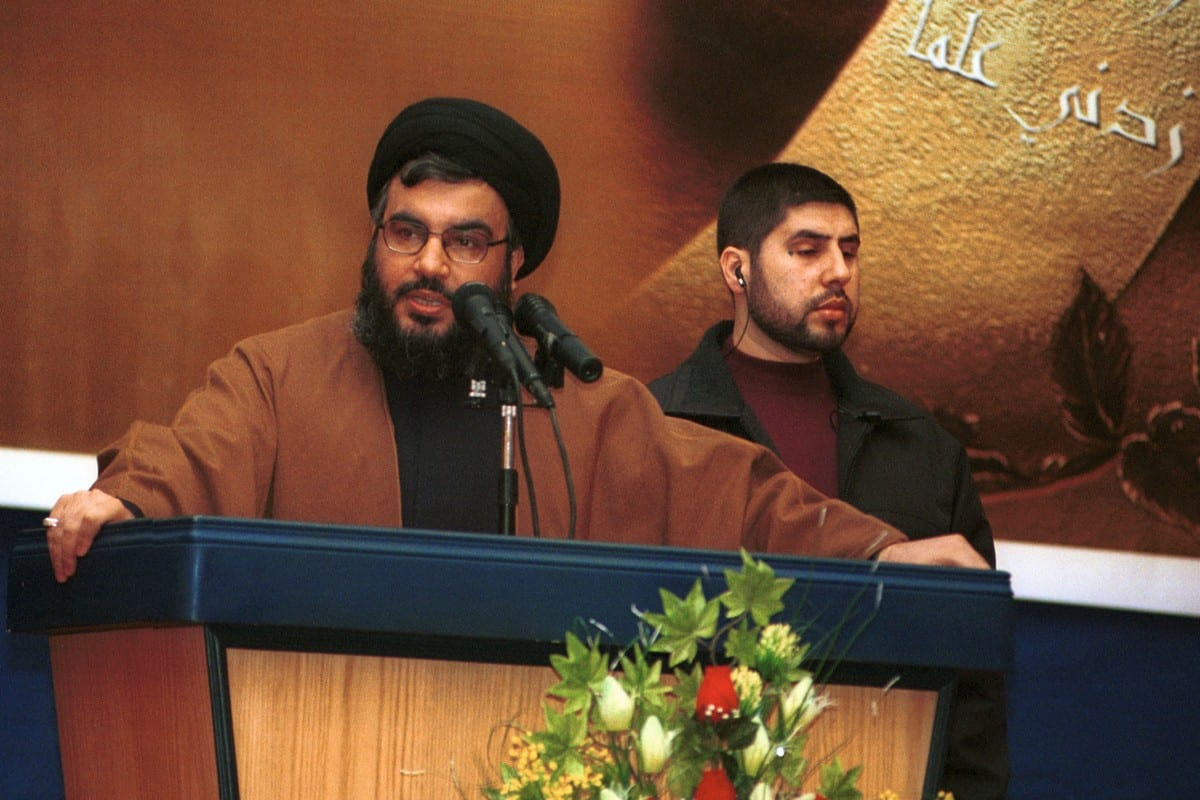 Líder do Hezbollah Hassan Nasrallah, em Beirute, Líbano, 8 de fevereiro de 2002 [Courtney Kealy/Getty Images]